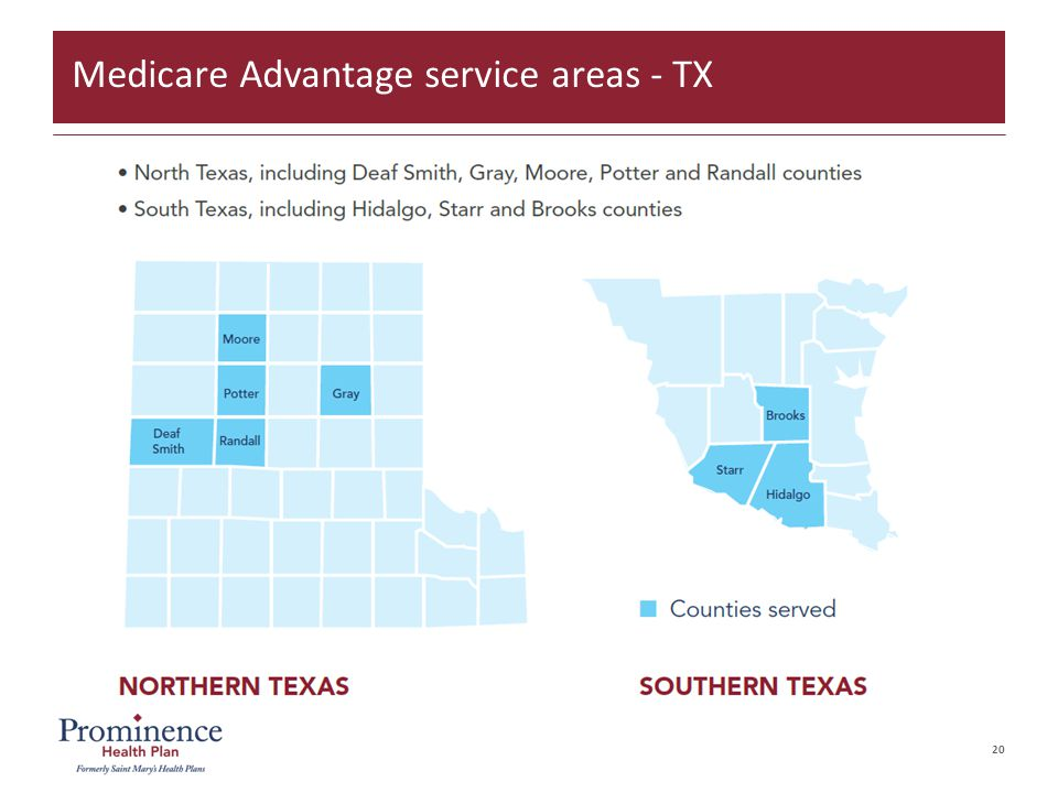 20 Medicare Advantage service areas - TX