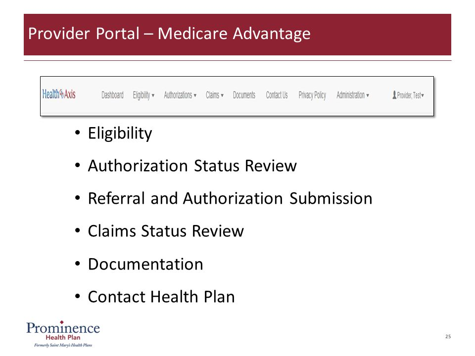 25 Eligibility Authorization Status Review Referral and Authorization Submission Claims Status Review Documentation Contact Health Plan Provider Portal – Medicare Advantage