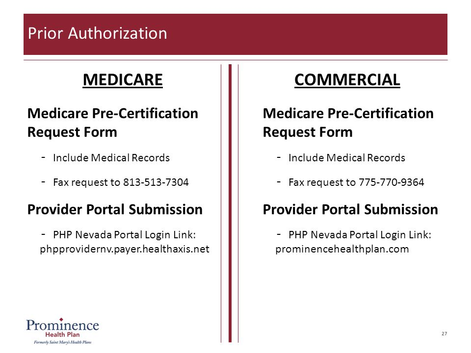 27 Prior Authorization MEDICARECOMMERCIAL Medicare Pre-Certification Request Form –Include Medical Records –Fax request to 813-513-7304 Provider Portal Submission –PHP Nevada Portal Login Link: phpprovidernv.payer.healthaxis.net Medicare Pre-Certification Request Form –Include Medical Records –Fax request to 775-770-9364 Provider Portal Submission –PHP Nevada Portal Login Link: prominencehealthplan.com
