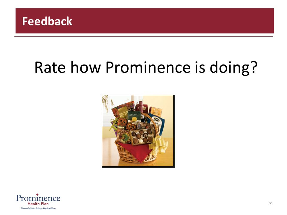 33 Rate how Prominence is doing? Feedback