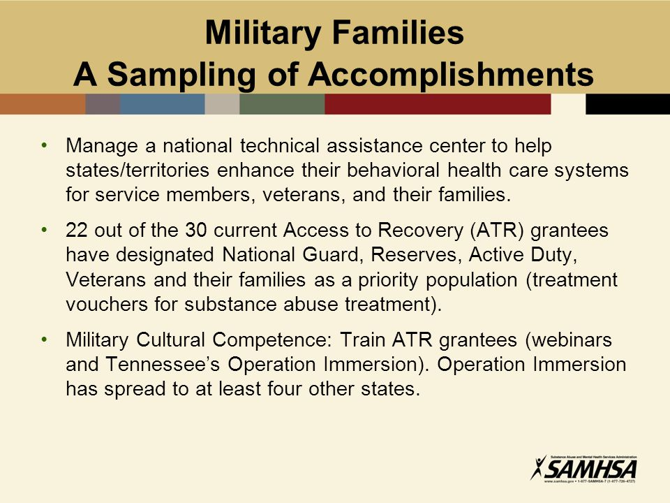 Military Families A Sampling of Accomplishments Manage a national technical assistance center to help states/territories enhance their behavioral heal