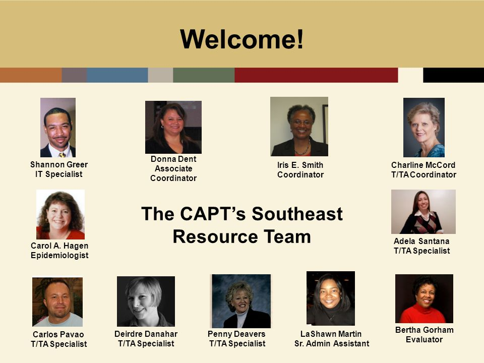 Welcome! The CAPT's Southeast Resource Team Shannon Greer IT Specialist Iris E. Smith Coordinator Charline McCord T/TA Coordinator Adela Santana T/TA