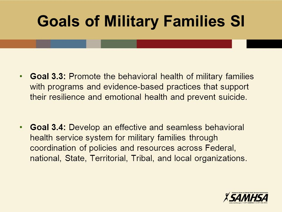 Workshop Objectives Understand the Clearinghouse for Military Family Readiness Understand what evidence-based means and why it is important to military family-based interventions Review resiliency and how it relates to readiness Use appropriate strategies to identify, evaluate, and apply evidence- based programs/practices for military families in their communities Understand how to locate and use data about military families Other Tasks: Review military demographics Review important insights related to the military
