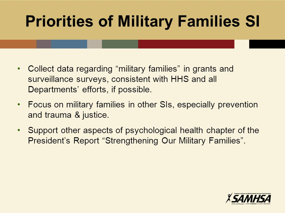 "Priorities of Military Families SI Collect data regarding ""military families"" in grants and surveillance surveys, consistent with HHS and all Departme"