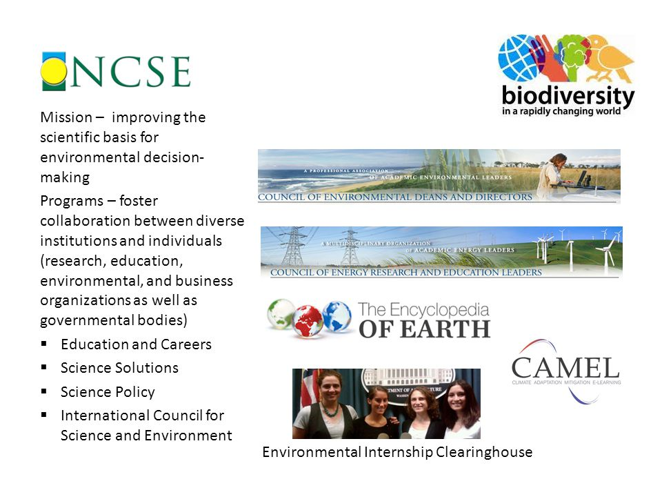 Mission – improving the scientific basis for environmental decision- making Programs – foster collaboration between diverse institutions and individua
