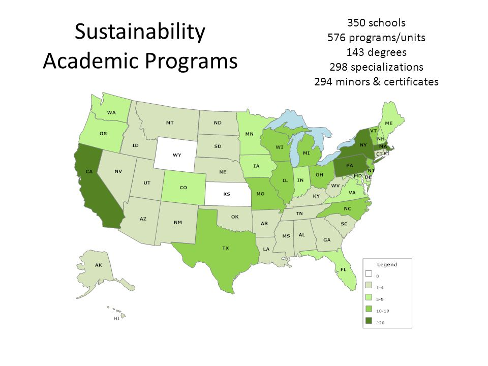 Sustainability Academic Programs 350 schools 576 programs/units 143 degrees 298 specializations 294 minors & certificates