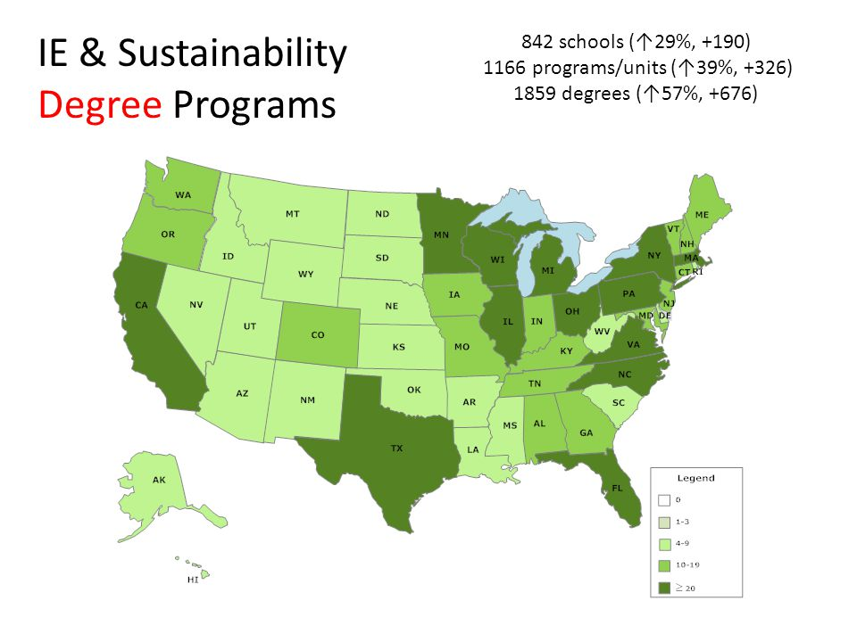 842 schools (↑29%, +190) 1166 programs/units (↑39%, +326) 1859 degrees (↑57%, +676) IE & Sustainability Degree Programs