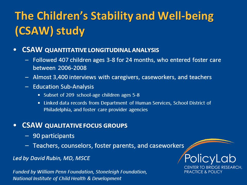 The Children's Stability and Well-being (CSAW) study CSAW QUANTITATIVE LONGITUDINAL ANALYSISCSAW QUANTITATIVE LONGITUDINAL ANALYSIS –Followed 407 chil