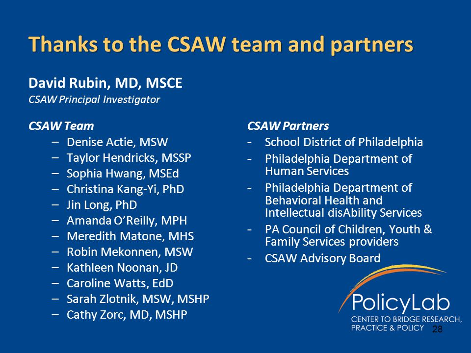 Thanks to the CSAW team and partners CSAW Team –Denise Actie, MSW –Taylor Hendricks, MSSP –Sophia Hwang, MSEd –Christina Kang-Yi, PhD –Jin Long, PhD –