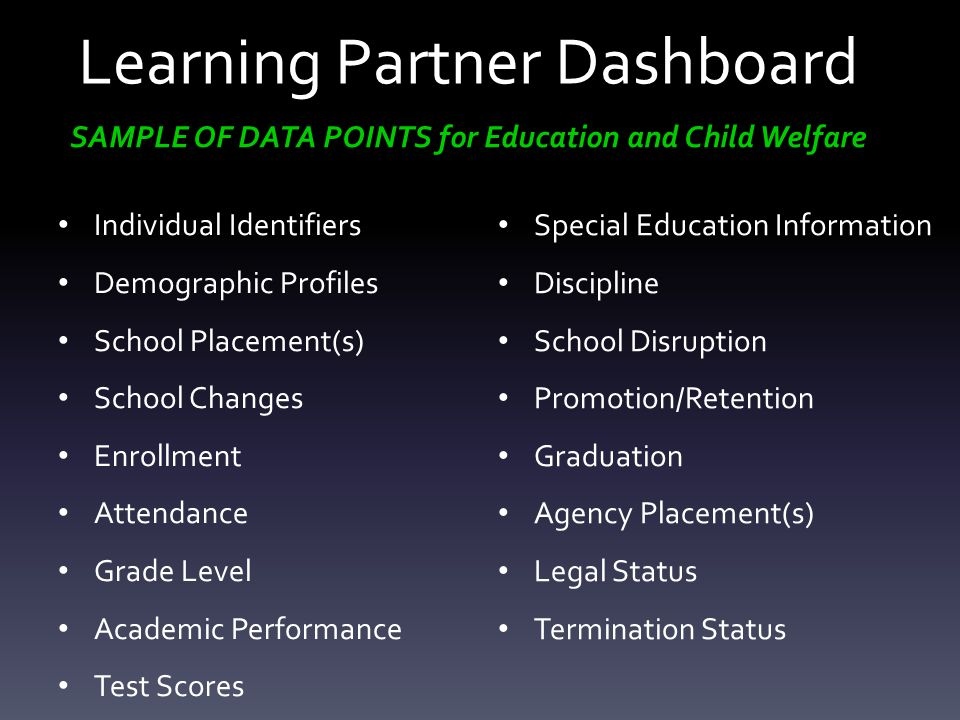 Learning Partner Dashboard Individual Identifiers Demographic Profiles School Placement(s) School Changes Enrollment Attendance Grade Level Academic P