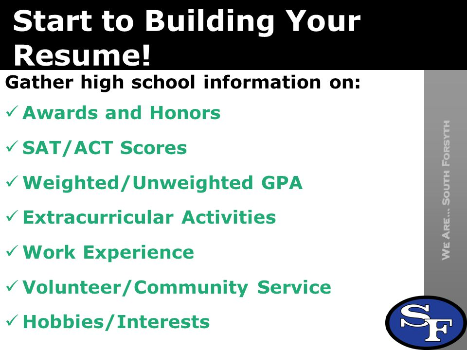 We Are… South Forsyth South Forsyth High School Start to Building Your Resume.