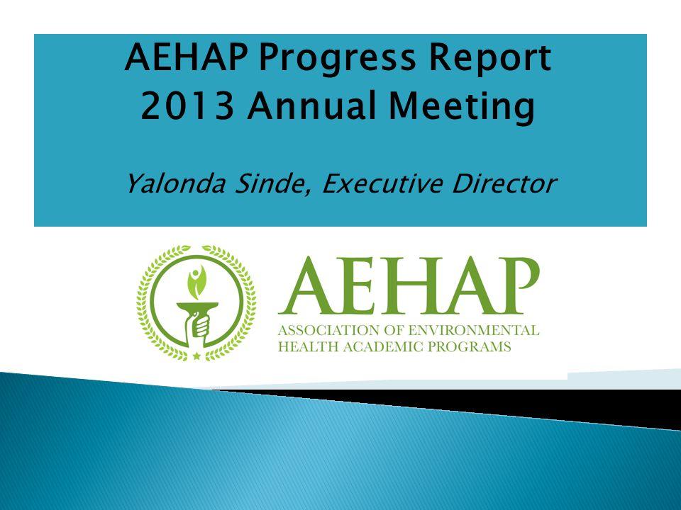 AEHAP Progress Report 2013 Annual Meeting Yalonda Sinde, Executive Director
