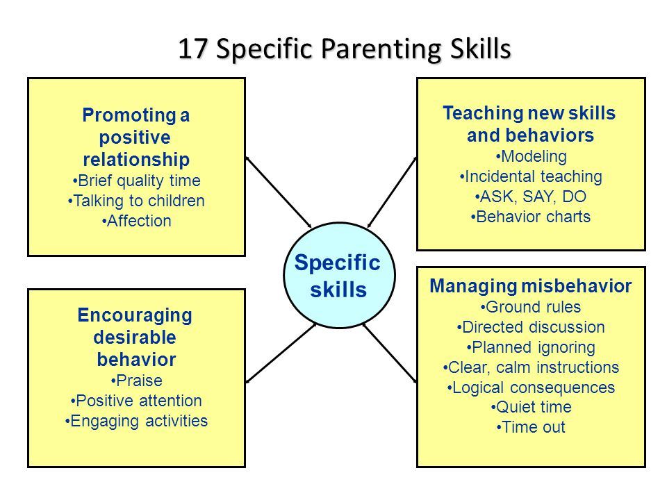 17 Specific Parenting Skills Promoting a positive relationship Brief quality time Talking to children Affection Teaching new skills and behaviors Mode