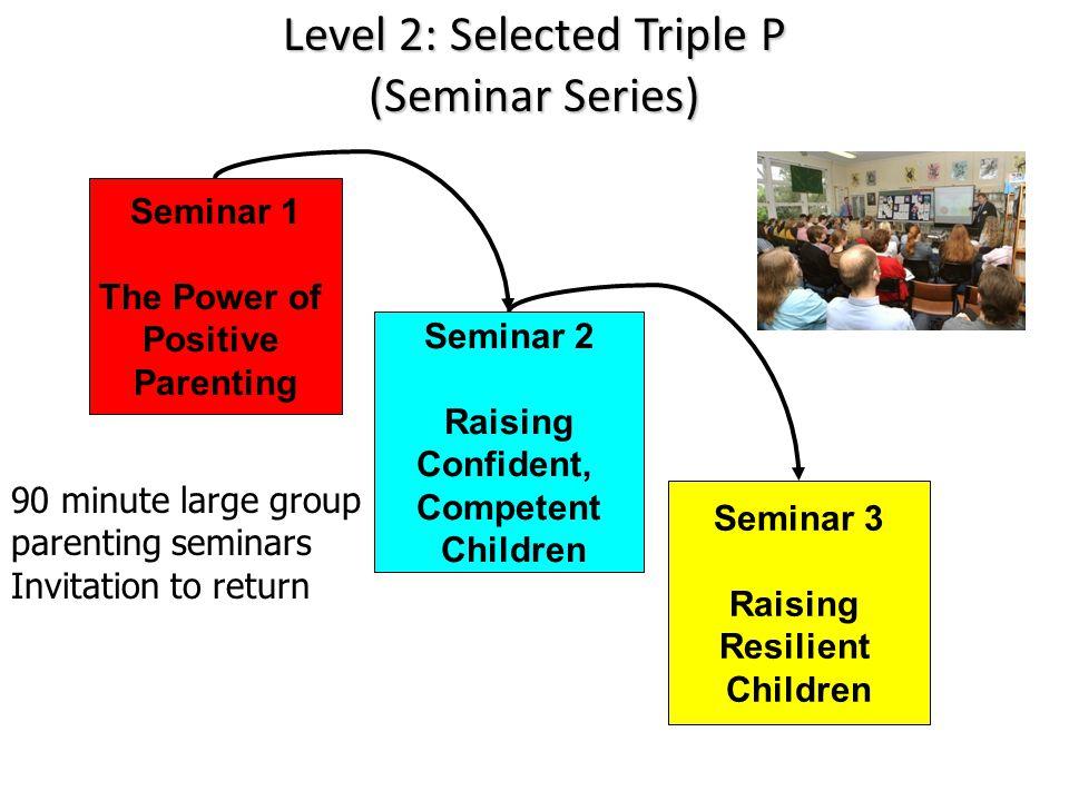 Level 2: Selected Triple P (Seminar Series) Seminar 1 The Power of Positive Parenting Seminar 2 Raising Confident, Competent Children Seminar 3 Raisin
