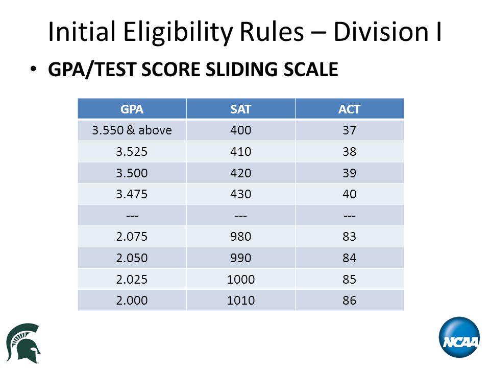 Initial Eligibility Rules – Division I GPA/TEST SCORE SLIDING SCALE GPASATACT 3.550 & above40037 3.52541038 3.50042039 3.47543040 --- 2.07598083 2.05099084 2.025100085 2.000101086