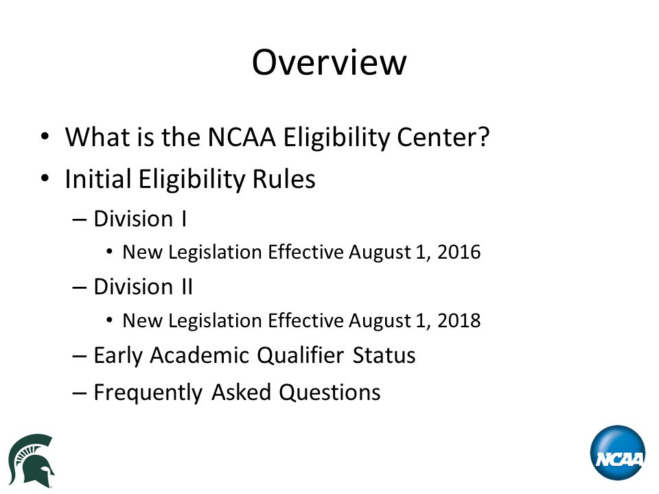 Initial Eligibility Rules – Division I Effective August 1, 2016 GPA/TEST SCORE SLIDING SCALE - QUALIFIER GPASATACT 3.550 & above40037 3.52541038 3.50042039 3.47543040 --- 2.37587072 2.35088073 2.32589074 2.30090075