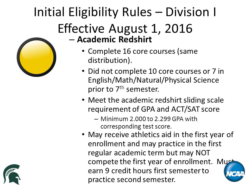 Initial Eligibility Rules – Division I Effective August 1, 2016 – Academic Redshirt Complete 16 core courses (same distribution).