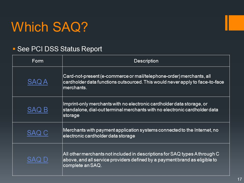 Which SAQ?  See PCI DSS Status Report 17 FormDescription SAQ A Card-not-present (e-commerce or mail/telephone-order) merchants, all cardholder data f