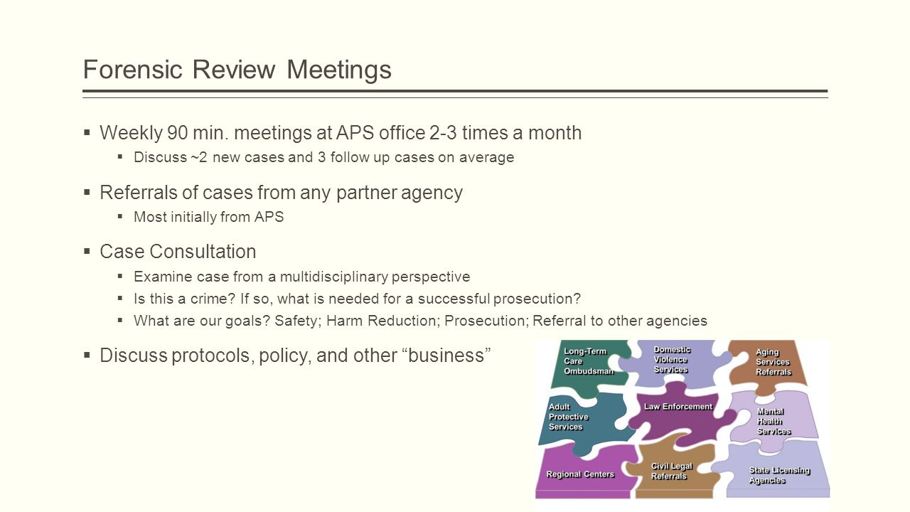 Forensic Review Meetings  Weekly 90 min.