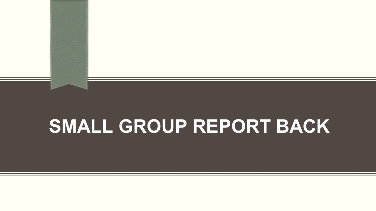 SMALL GROUP REPORT BACK