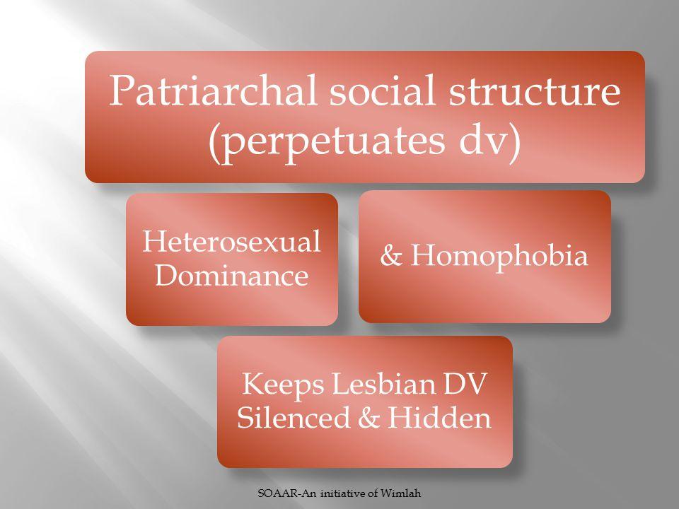 Patriarchal social structure (perpetuates dv) Heterosexual Dominance Keeps Lesbian DV Silenced & Hidden & Homophobia