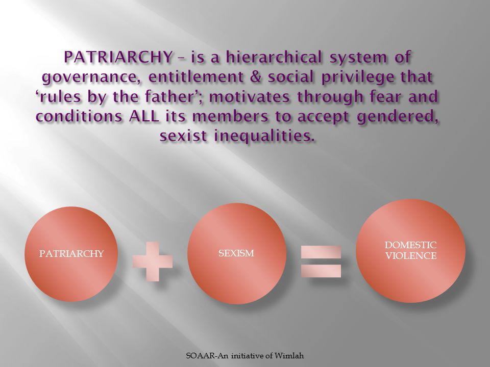PATRIARCHY SEXISM DOMESTIC VIOLENCE SOAAR-An initiative of Wimlah
