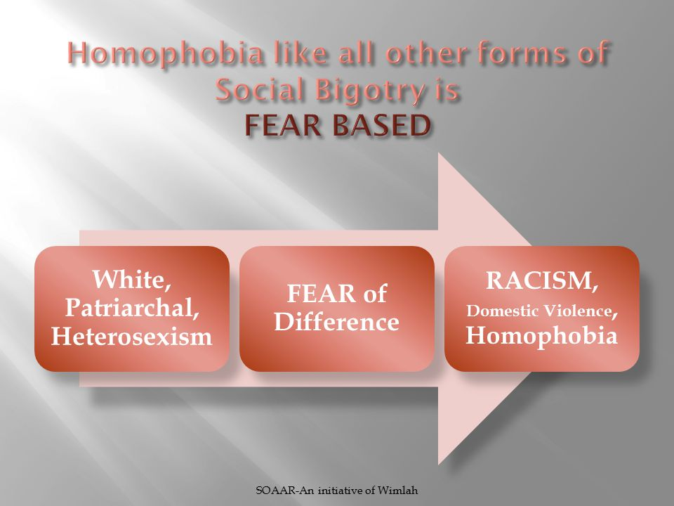 White, Patriarchal, Heterosexism FEAR of Difference RACISM, Domestic Violence, Homophobia SOAAR-An initiative of Wimlah
