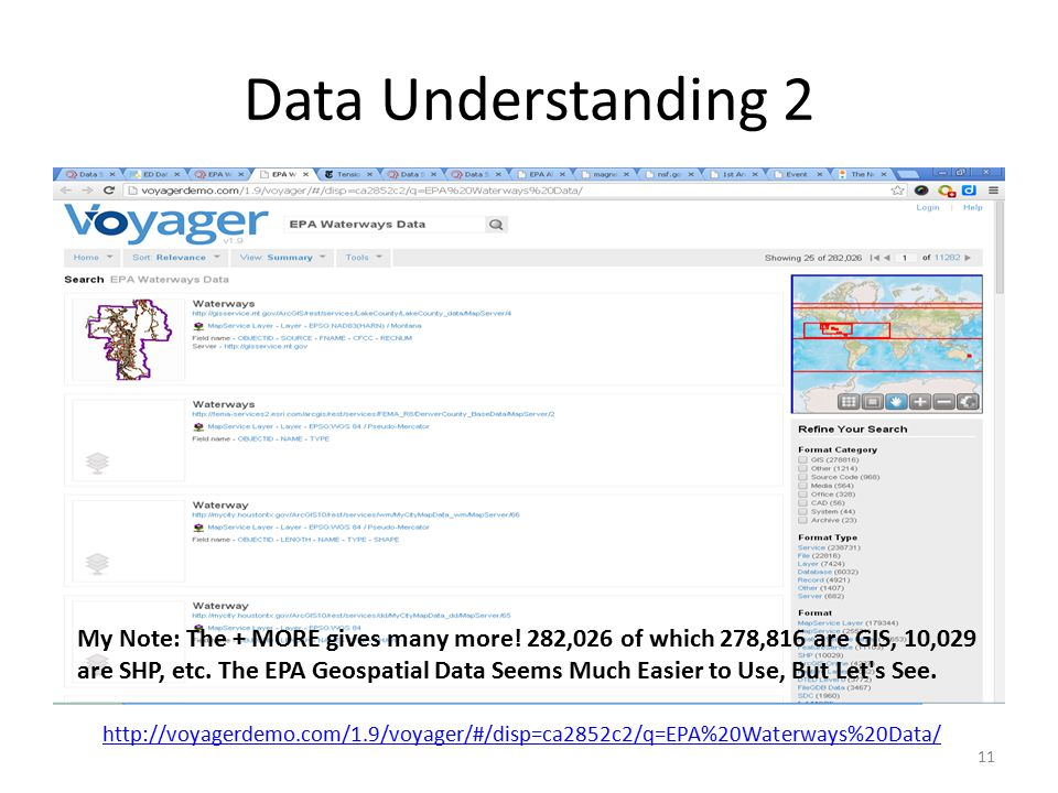 Data Understanding 2 11 http://voyagerdemo.com/1.9/voyager/#/disp=ca2852c2/q=EPA%20Waterways%20Data/ My Note: The + MORE gives many more.