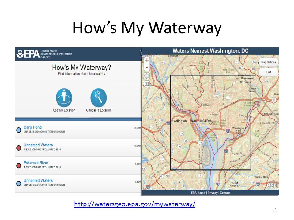 How's My Waterway 13 http://watersgeo.epa.gov/mywaterway/