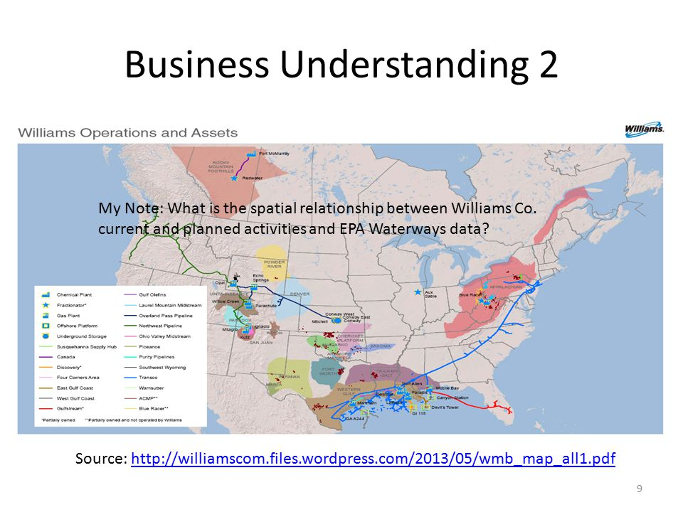 Business Understanding 2 9 Source: http://williamscom.files.wordpress.com/2013/05/wmb_map_all1.pdfhttp://williamscom.files.wordpress.com/2013/05/wmb_map_all1.pdf My Note: What is the spatial relationship between Williams Co.