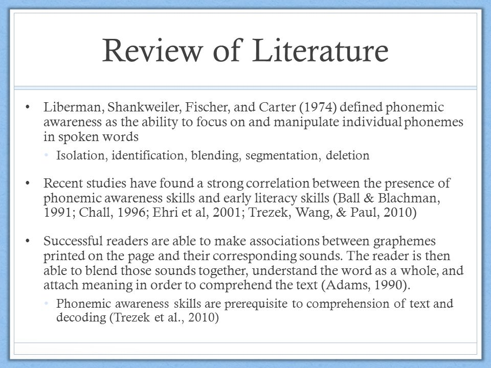 Review of Literature Liberman, Shankweiler, Fischer, and Carter (1974) defined phonemic awareness as the ability to focus on and manipulate individual