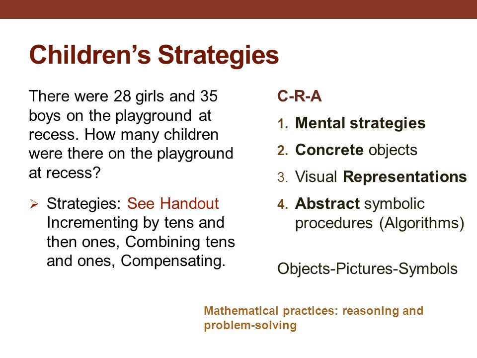 Children's Strategies There were 28 girls and 35 boys on the playground at recess. How many children were there on the playground at recess?  Strateg