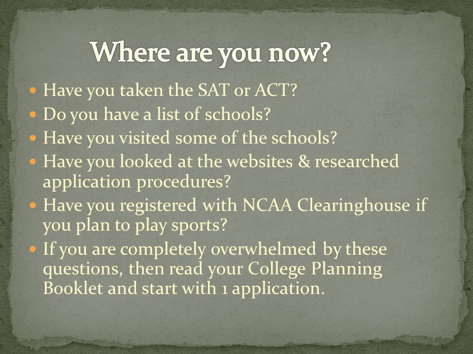 Have you taken the SAT or ACT. Do you have a list of schools.