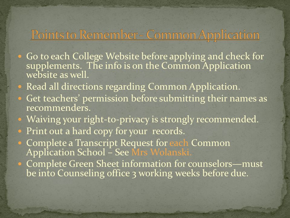 Go to each College Website before applying and check for supplements.