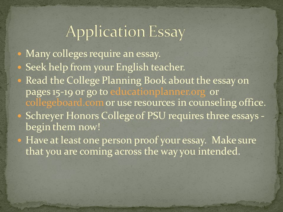 Many colleges require an essay. Seek help from your English teacher.