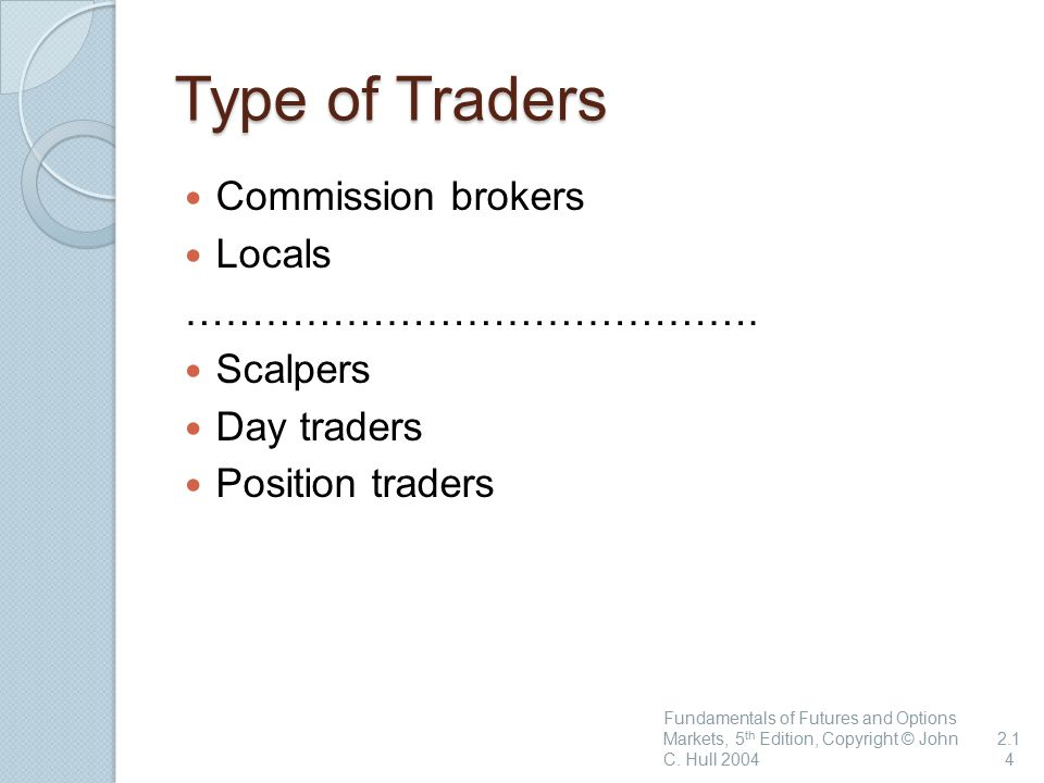 Type of Traders Commission brokers Locals …………………………………….