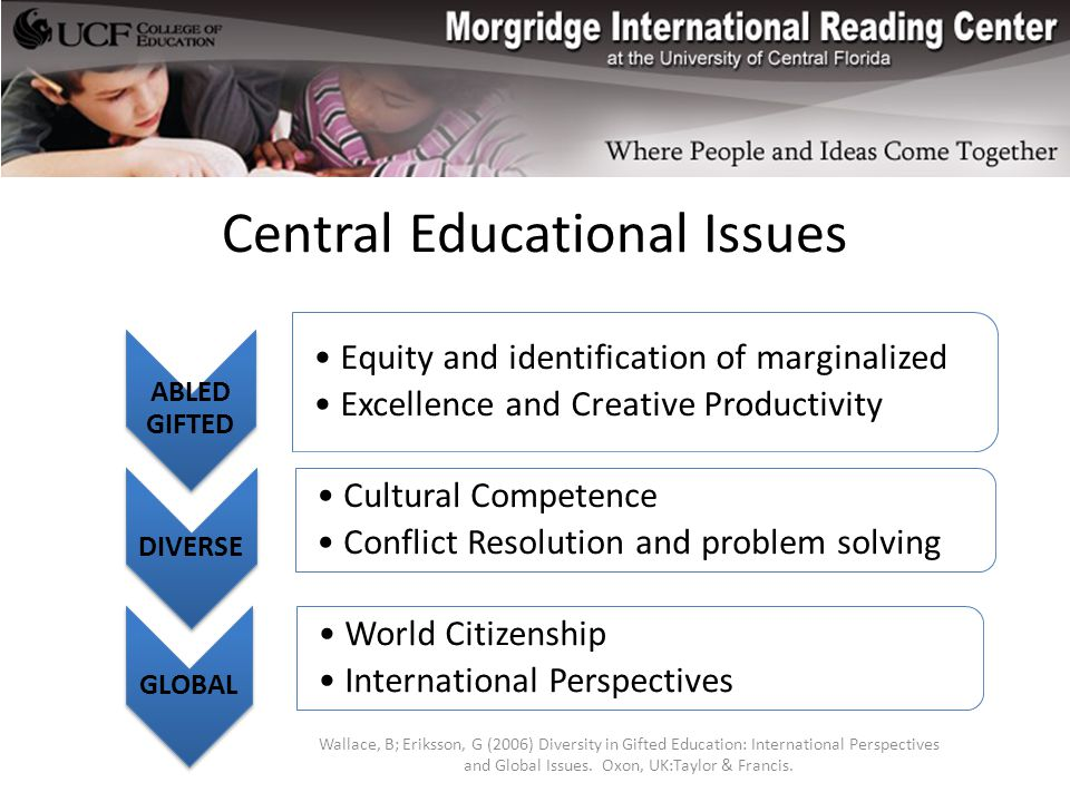 Central Educational Issues ABLED GIFTED Equity and identification of marginalized Excellence and Creative Productivity DIVERSE Cultural Competence Conflict Resolution and problem solving GLOBAL World Citizenship International Perspectives Wallace, B; Eriksson, G (2006) Diversity in Gifted Education: International Perspectives and Global Issues.