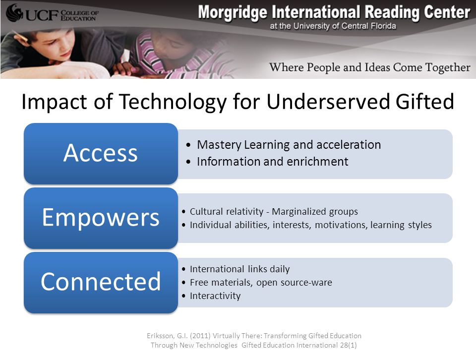 Impact of Technology for Underserved Gifted Mastery Learning and acceleration Information and enrichment Access Cultural relativity - Marginalized groups Individual abilities, interests, motivations, learning styles Empowers International links daily Free materials, open source-ware Interactivity Connected Eriksson, G.I.
