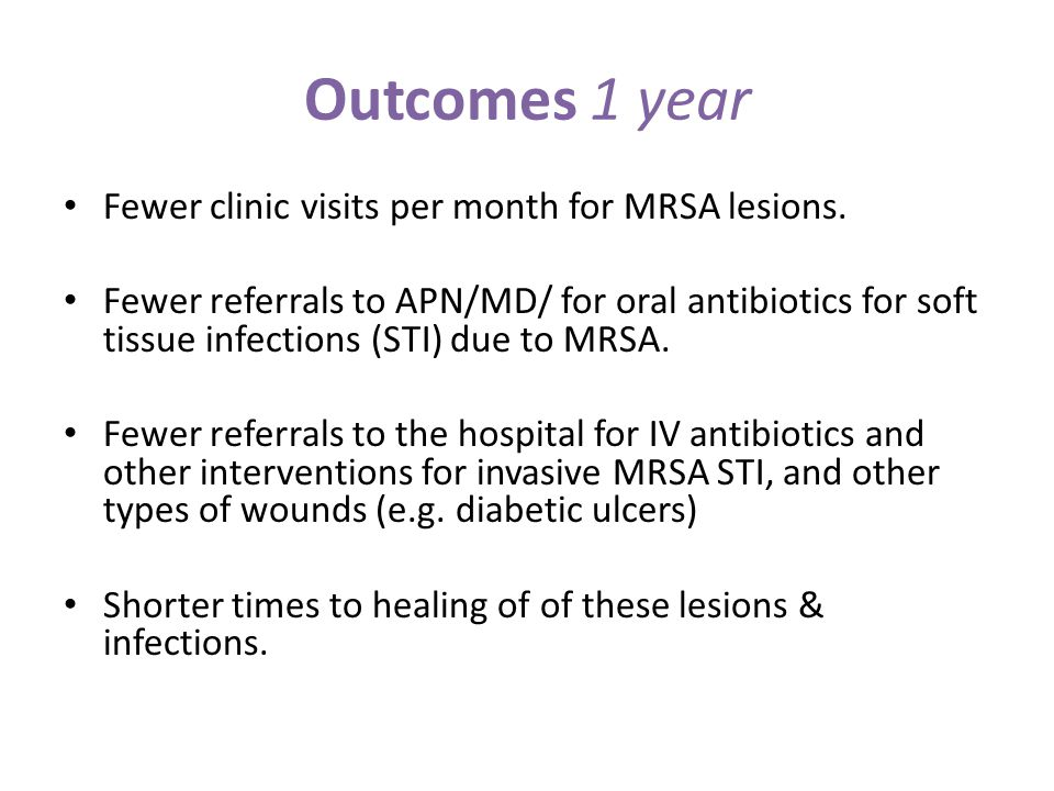 Outcomes 1 year Fewer clinic visits per month for MRSA lesions. Fewer referrals to APN/MD/ for oral antibiotics for soft tissue infections (STI) due t