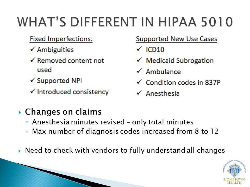  Changes on claims ◦ Anesthesia minutes revised – only total minutes ◦ Max number of diagnosis codes increased from 8 to 12  Need to check with vendors to fully understand all changes
