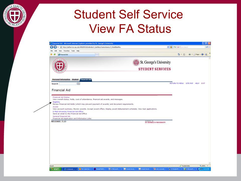 Student Self Service View FA Status