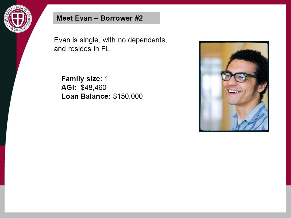 Evan is single, with no dependents, and resides in FL Family size: 1 AGI: $48,460 Loan Balance: $150,000 Meet Evan – Borrower #2