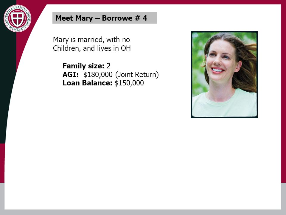 Mary is married, with no Children, and lives in OH Family size: 2 AGI: $180,000 (Joint Return) Loan Balance: $150,000 Meet Mary – Borrowe # 4