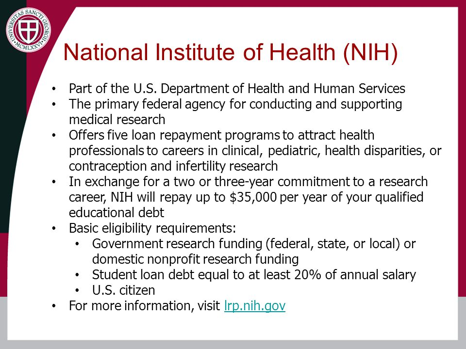 National Institute of Health (NIH) Part of the U.S.
