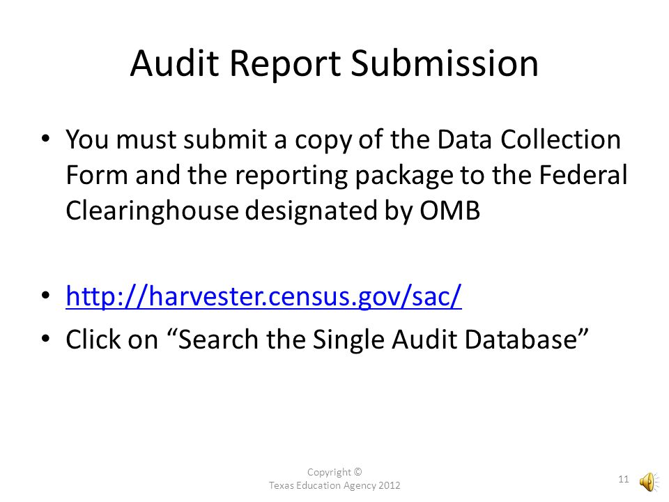 Copyright © Texas Education Agency 2012 10 Audit Report Submission Cont.