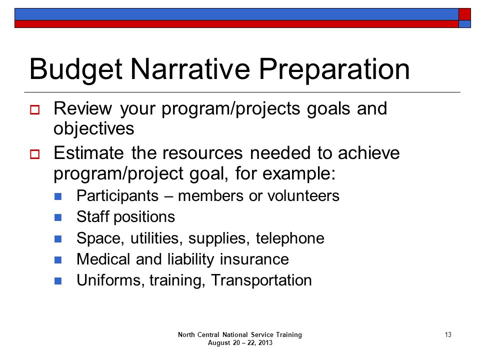 North Central National Service Training August 20 – 22, 2013 13 Budget Narrative Preparation  Review your program/projects goals and objectives  Est