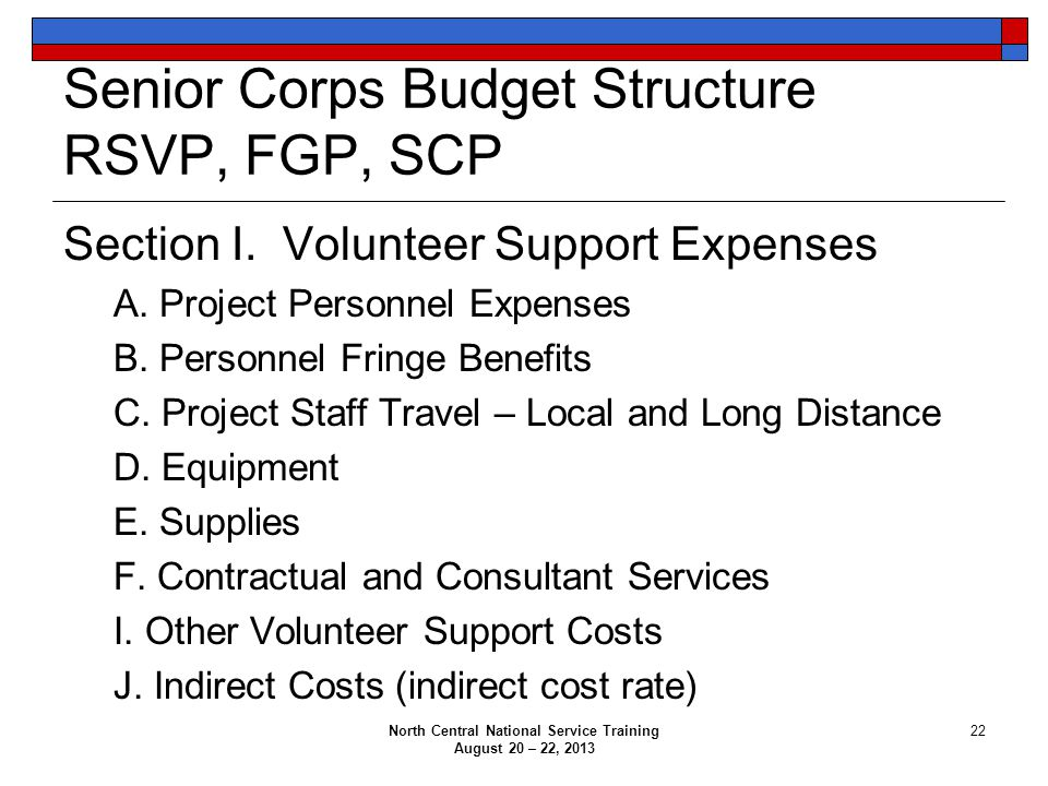 Senior Corps Budget Structure RSVP, FGP, SCP Section I.