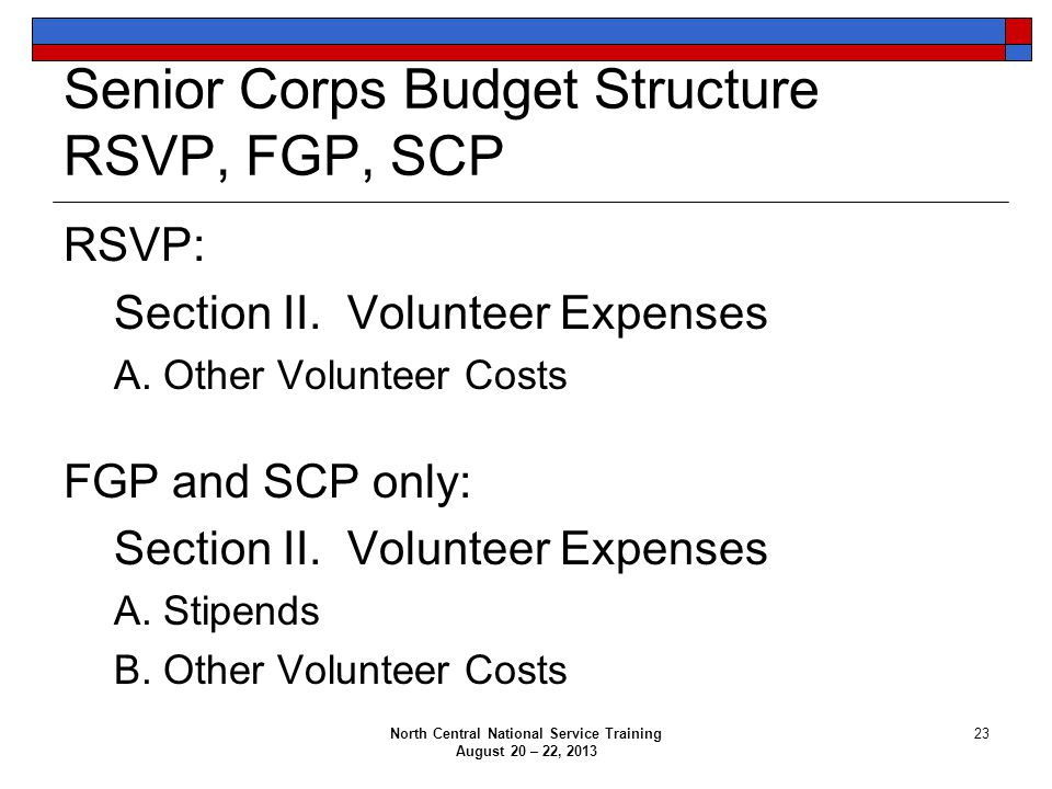 Senior Corps Budget Structure RSVP, FGP, SCP RSVP: Section II. Volunteer Expenses A. Other Volunteer Costs FGP and SCP only: Section II. Volunteer Exp