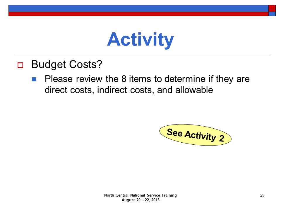 North Central National Service Training August 20 – 22, 2013 29 Activity  Budget Costs? Please review the 8 items to determine if they are direct cos
