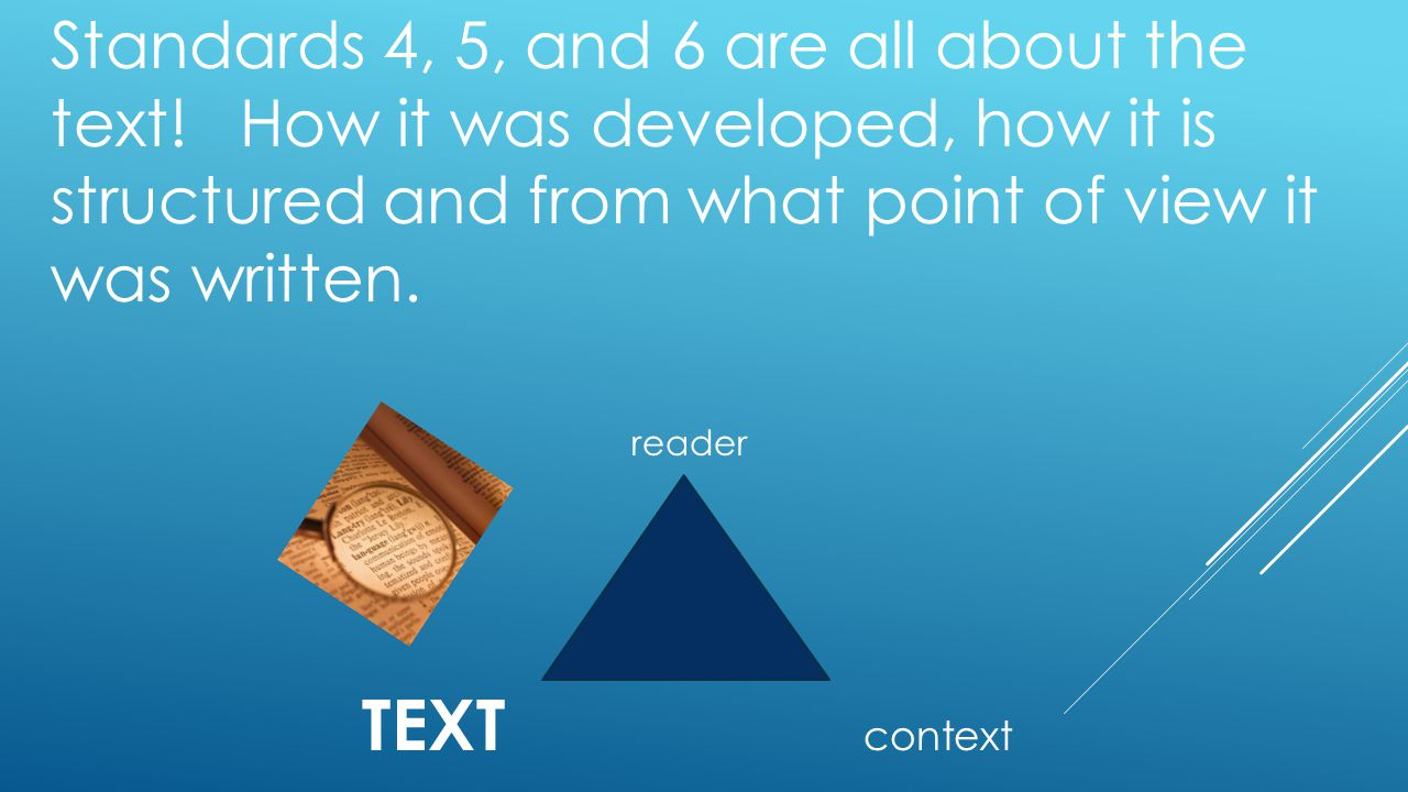 Standards 4, 5, and 6 are all about the text.